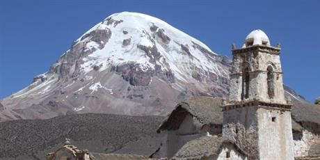 View of the snow-covered Sajama mountain (6,552m)